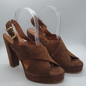 Kenneth Cole Lola Suede Open Toe Heel Brown Sz 9.5